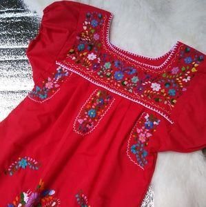 Vintage Embroidered Handmade Dress Red